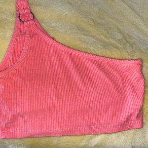 One shoulder LF crop top in neon orange